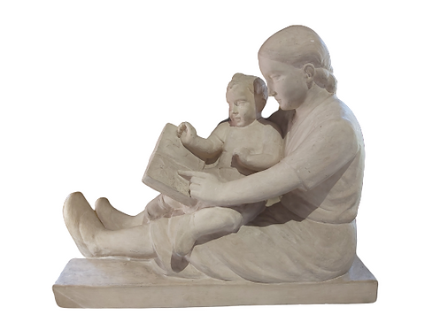"""Sculpture en plâtre patiné """"Poppe Mich"""""""