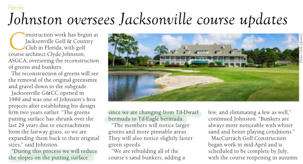 Jacksonville Golf & Country Club Switches to TifEagle Bermudagrass Greens
