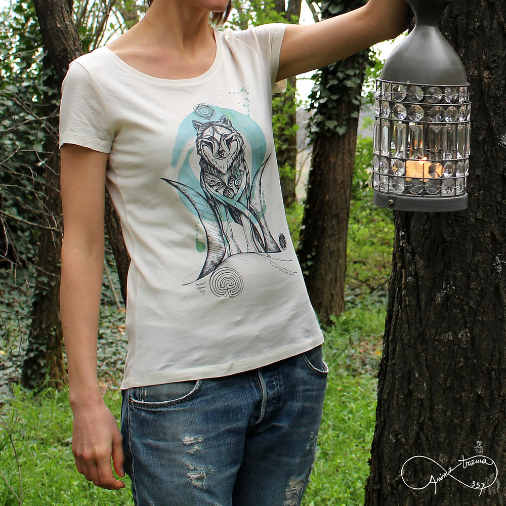 T-shirt donna stampa Lupo
