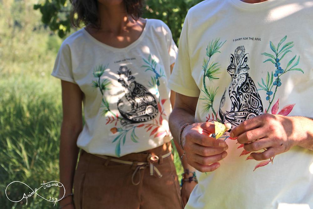 T-shirt uomo e donna 100% cotone biologico, stampa volpe.