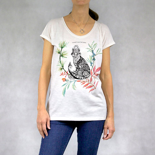 "T-shirt donna collo a ""V"" stampa Volpe"
