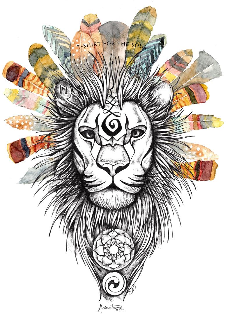 Leone, disegno fatto a mano con china e acquerello.
