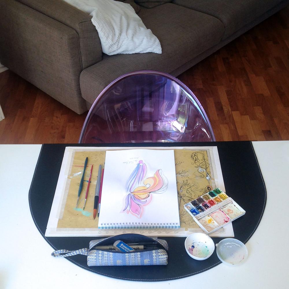 Il mio tavolo da disegno.