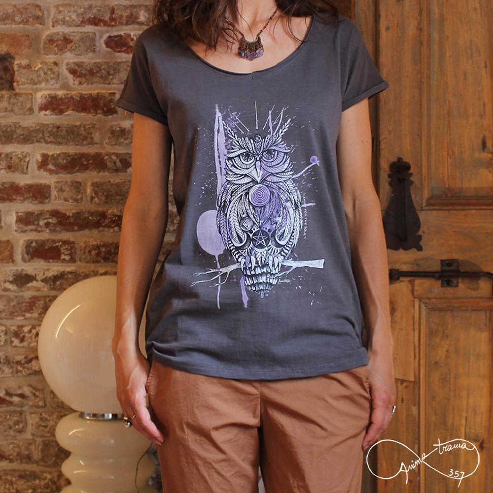 """T-shirt donna collo a """"V"""" stampa Gufo"""