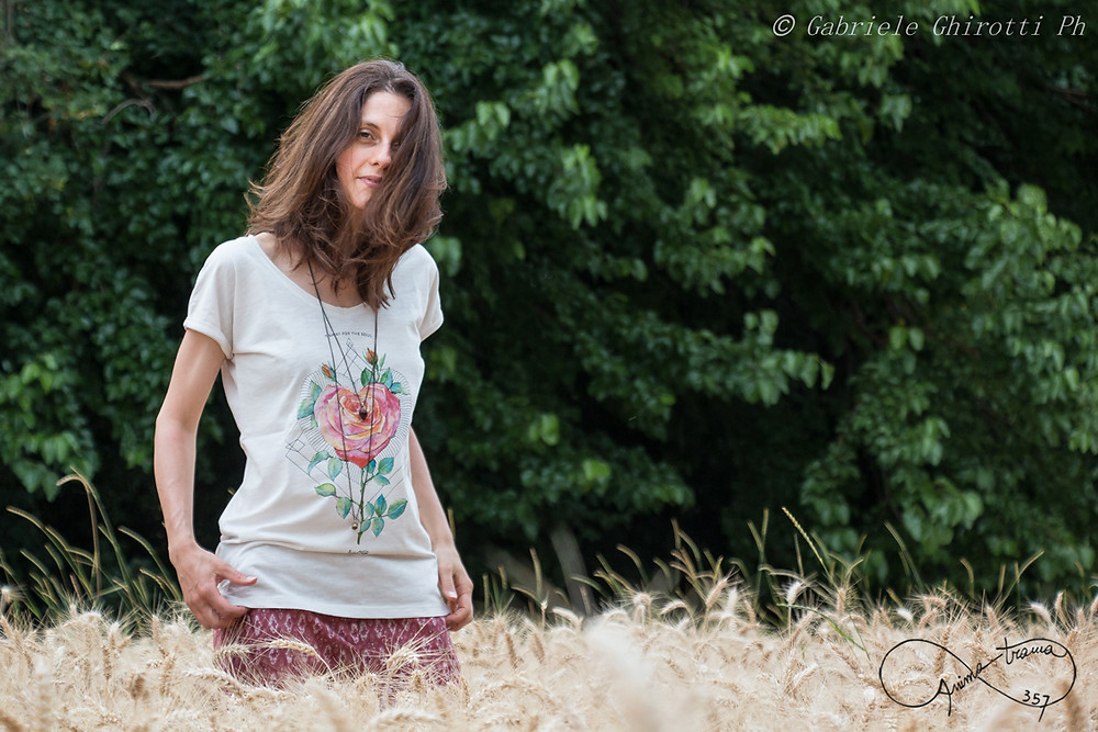 T-shirt donna stampa Rosa