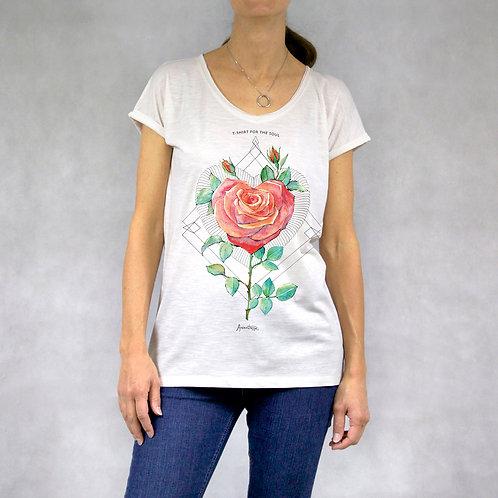 "T-shirt donna collo a ""V"" stampa Rosa"