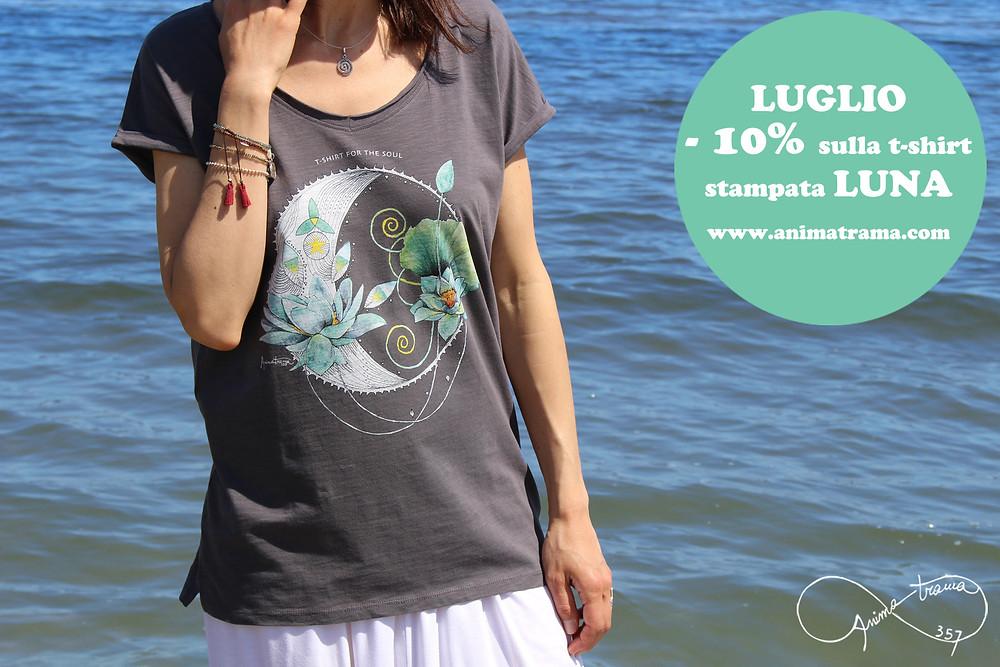 T-shirt donna stampa luna offerta