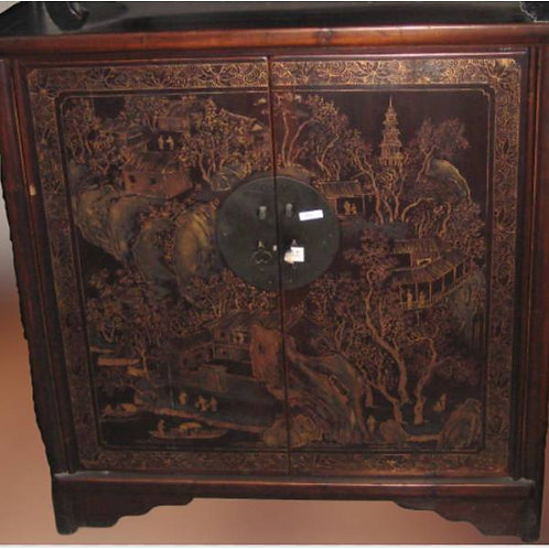 Unique collector's cabinet with Chinese temple on mountain