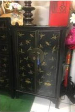 Tall handprinted Cabinet adorned with butterflies
