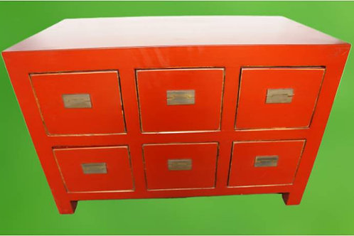 Red cabinet with six or nine drawers