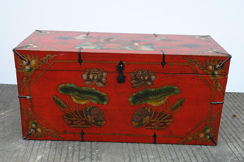 Beautiful, red, handprinted trunk