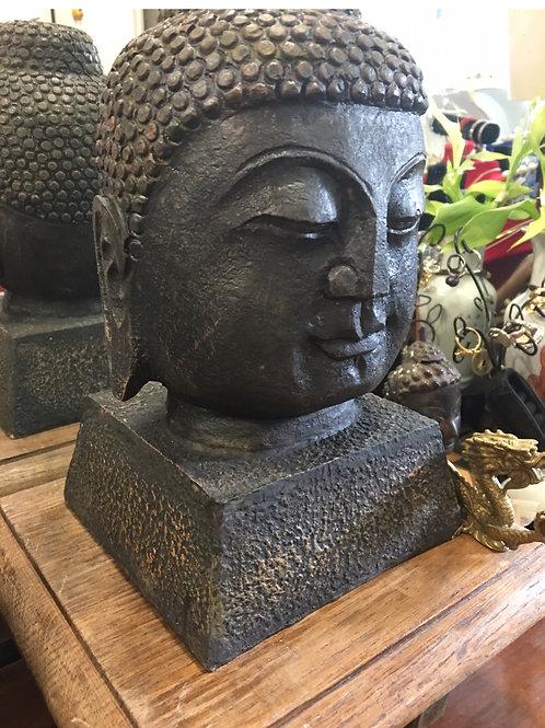 Metal Buddha head figure