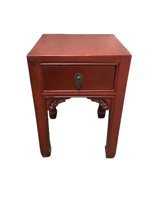 Red corner table with one drawers