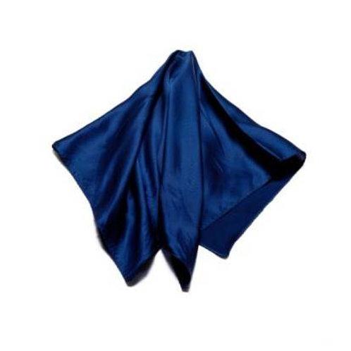 Silk scarves / pocket handkerchiefs - plain, blues and greens