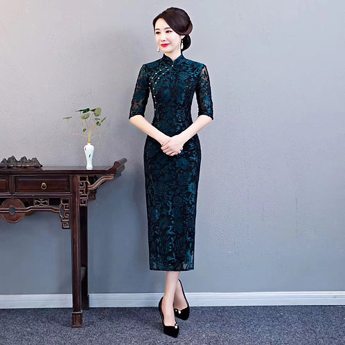 Black QiPao Dresses with flowers and pearl braid