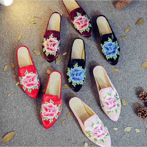 Silk and velvet slippers, rose motif, non-slip