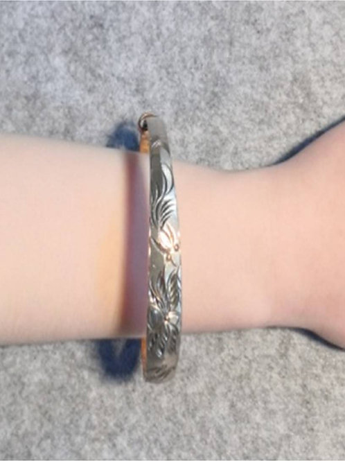 Unique Silver (990S) bracelet ring, flower engravings