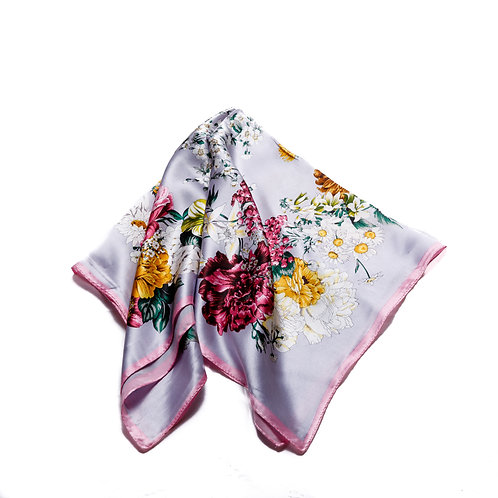 Silk scarf / pocket handkerchief - grey with pink border and floral bouquet