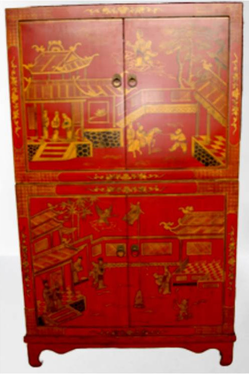 Beautiful handprinted red Wedding cabinet