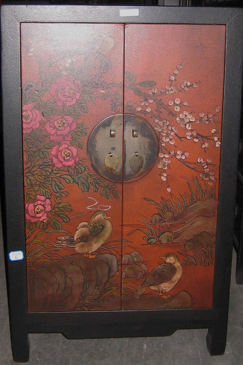 Handprinted cabinet with two doors and pairing ducks