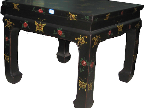 Handprinted, opium-style table decorated with butterfly motifs