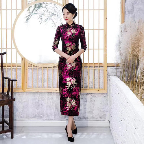 QiPao Dress - Black with bright pink and gold flower pattern