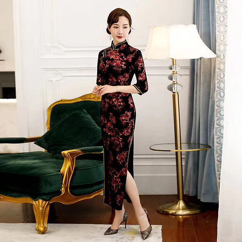 QiPao Dress - Black with red and yellow flowers