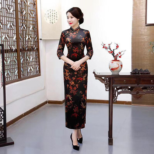 QiPao Dresses with red and yellow leaves and flowers