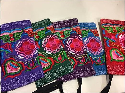 Embroidered cotton bag with zip on front, flower - various colours
