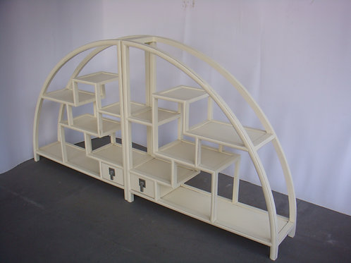 Circular wooden shelf cabinet