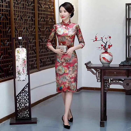 QiPao Dress - Red with gold and green circular flowers, keyhole neckline