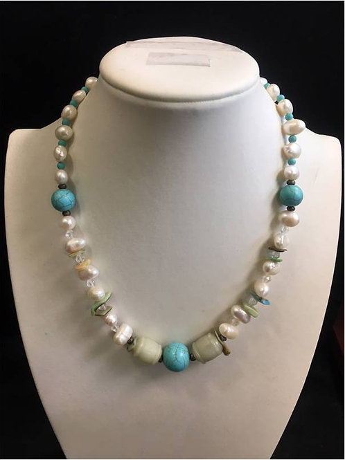 Unique, handmade saltwater pearl necklace with seashells, jade, turquoise beads
