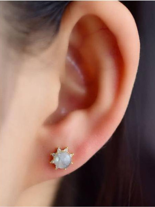 Moonstone, star shaped earrings