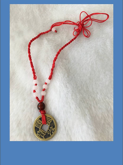 Lucky old copper coin necklace on silk rope (various colours)