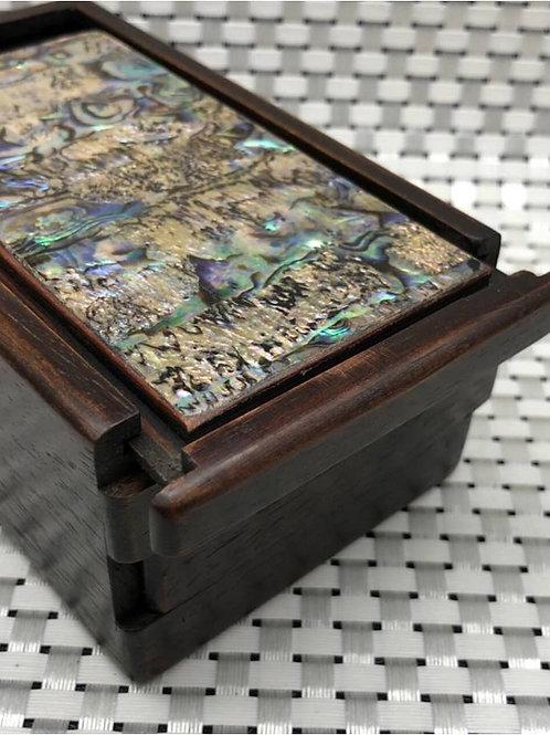 Handmade redwood and abalone shell jewellery box