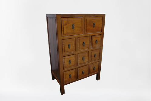 Natural wood elm cabinet with 11 drawers