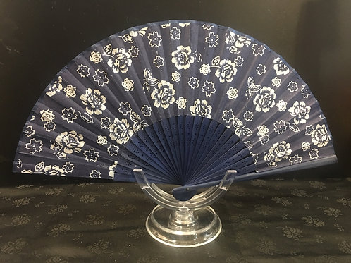 Fan - navy blue with small white roses and dark slats