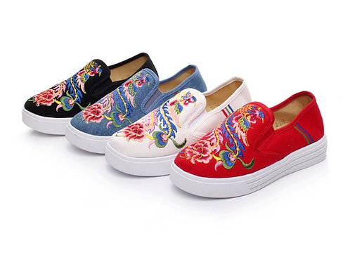 Plimsoll with peacock design