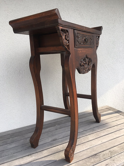 Elegant elm wood table, one drawer, with handcarved dragon and phoenix
