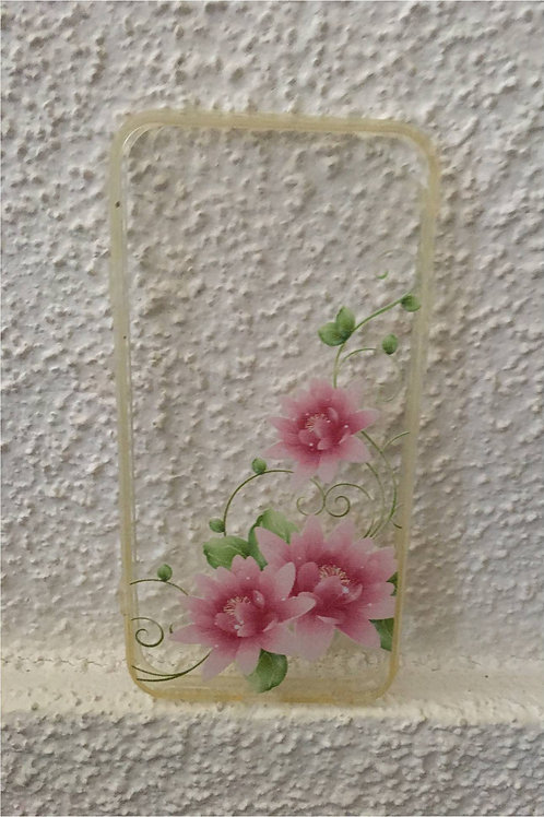 Transparent mobile phone case: Pink flower and leaves