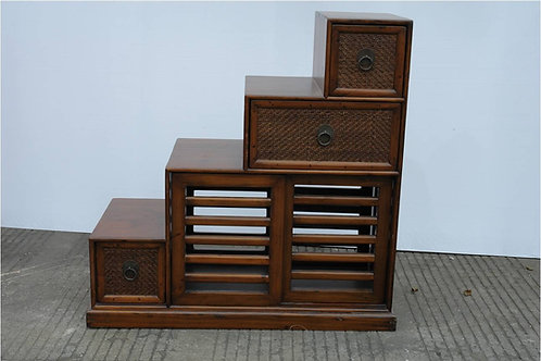 Rattan step cabinet with three drawers and two doors