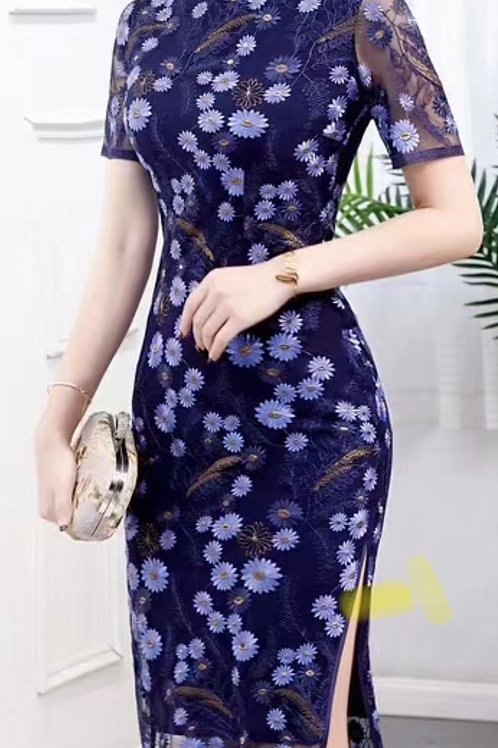 QiPao Dress - Dark blue, daisies
