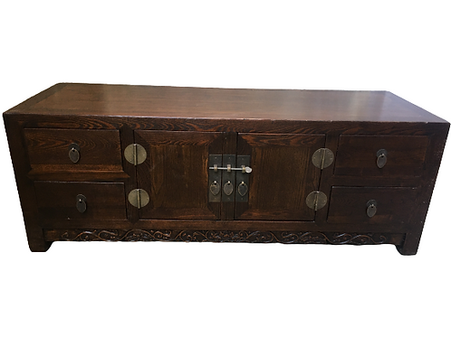 Korean style cabinet with copper decorations, 2 doors and 4 drawers