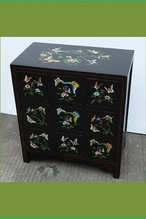 Beautiful handprinted cabinet decorated with butterflies and flowers, 9 drawers