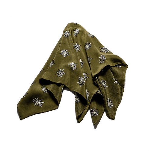 Silk scarves / pocket handkerchiefs - Edelweiss flowers