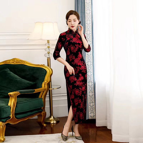 QiPao Dress - Black with red roses