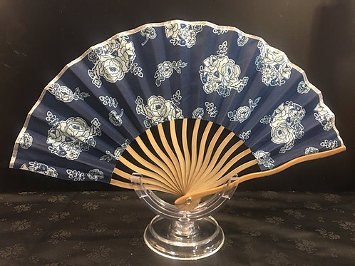 Fan - navy blue with white flowers and curved slats
