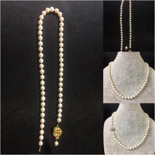 Pearl necklace rethreaded on silk, repaired, cleaned, sterling silver magnetic clasp