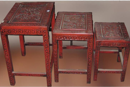 Mahoghany coloured, carved wood stool (various sizes)