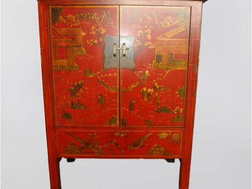 Handprinted cabinet with two doors, believed to help a wish for children
